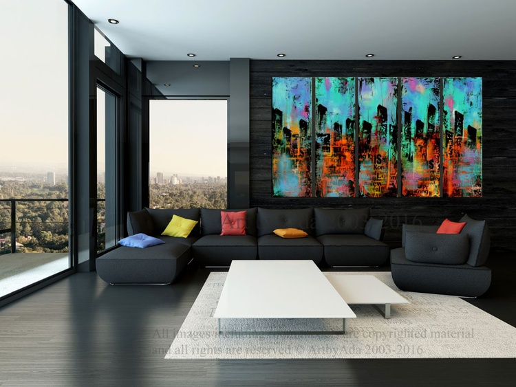 """Party City #2 "" 50"" Large Abstract Urban Painting, Art Painting Large industrial modern abstract painting sofa knife art - Image 0"
