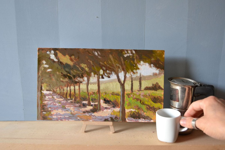 Moutan Botanical Garden Plein Air Italian Landscape Oil Painting - Image 0