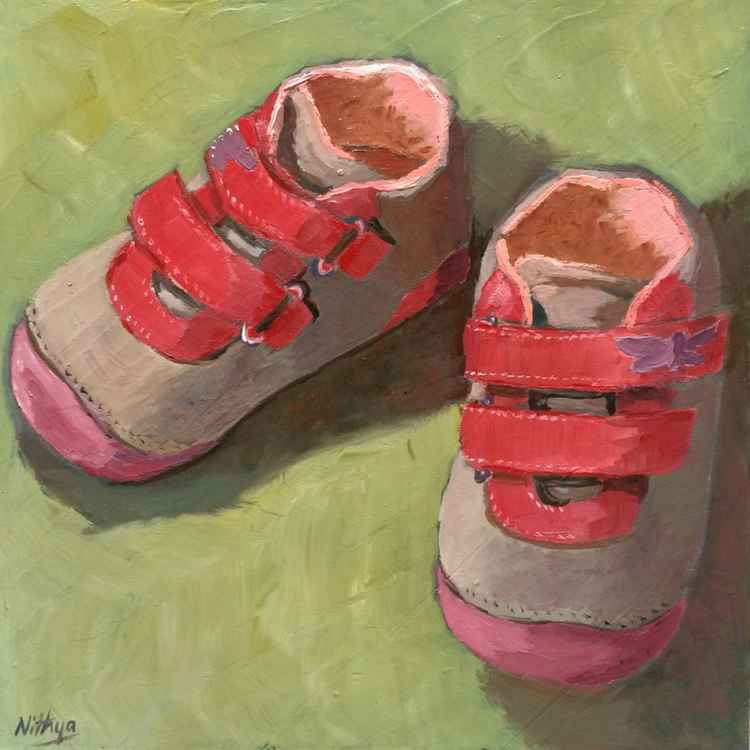 A Companion Pair - Original Painting of Pink Baby Shoes -