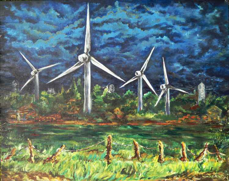 Field with Windmills