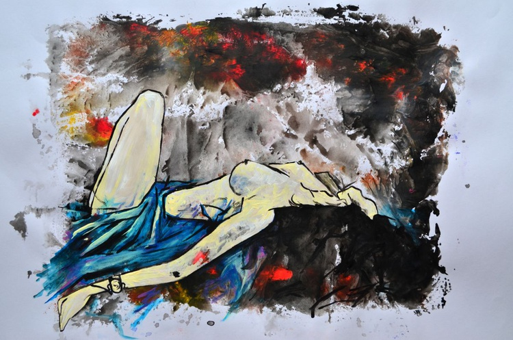 Sleeping - Acrylic Abstract Art Painting On A2 Paper - Image 0