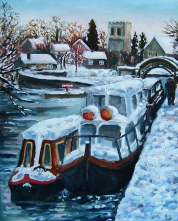 Snowy boats at Iffley Lock