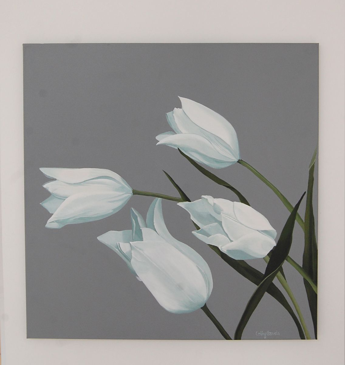 tulips flower painting white gray large botanical acrylic wall art 2016 acrylic painting by. Black Bedroom Furniture Sets. Home Design Ideas