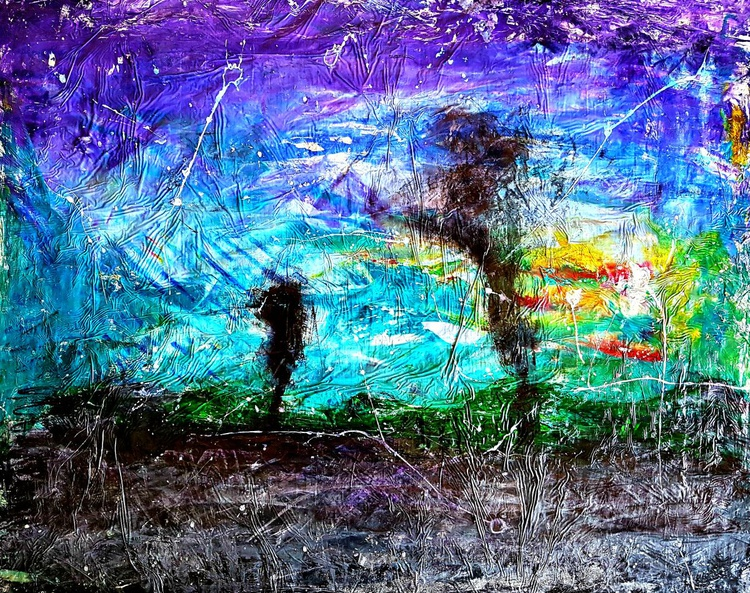 My soul and I (n.196) - abstract landscape - 91 x 72 x 2,50 cm - ready to hang - acrylic painting on stretched canvas - Image 0