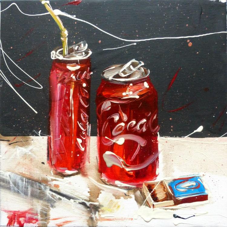 Coca-Cola, oil painting 30x30 cm - Image 0