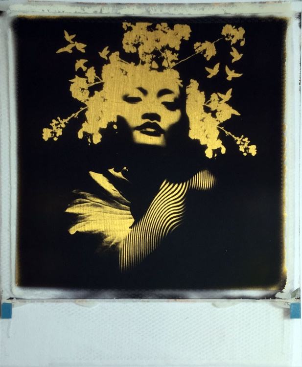 Beginning 24ct gold leaf Polaroid collage - Image 0