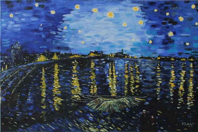 Starry Night on the Rhone after Van Gough -