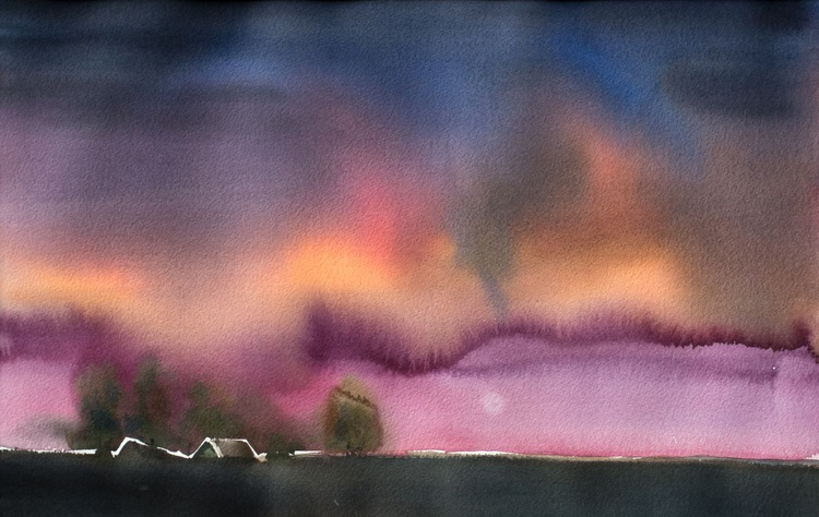 """Before sunset"", original watercolour painting, 14.4""x 22.4""(36x56cm), ready to hang - Image 0"