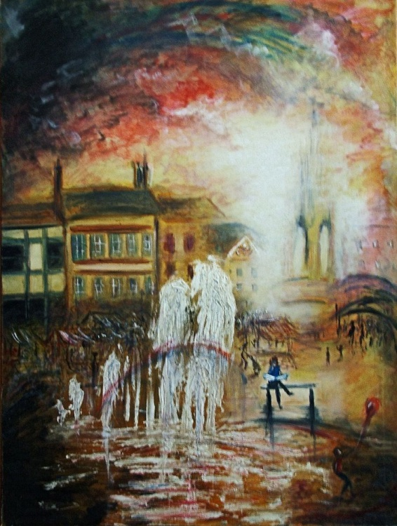 The Market Fountains (Oil on canvas 40x30inch) - Image 0