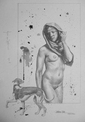 Drawing nude pencil picture