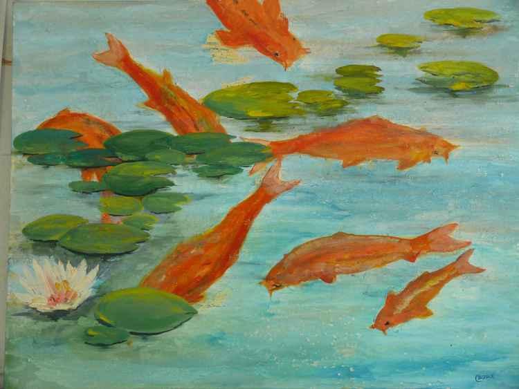 Goldfish and Koi Carp. -