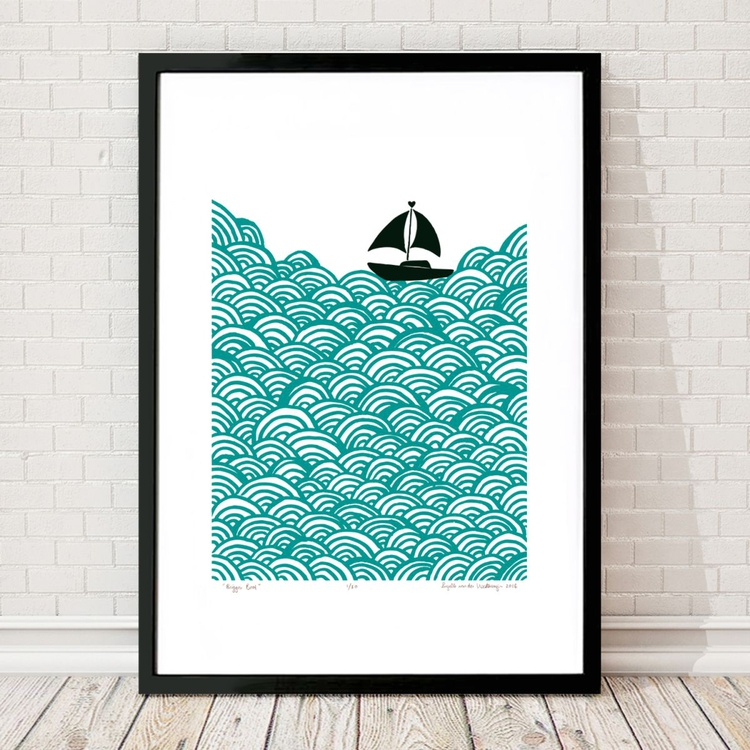 Bigger Boat A2 Size in Green Lagoon - Framed FREE UK Delivery - Image 0