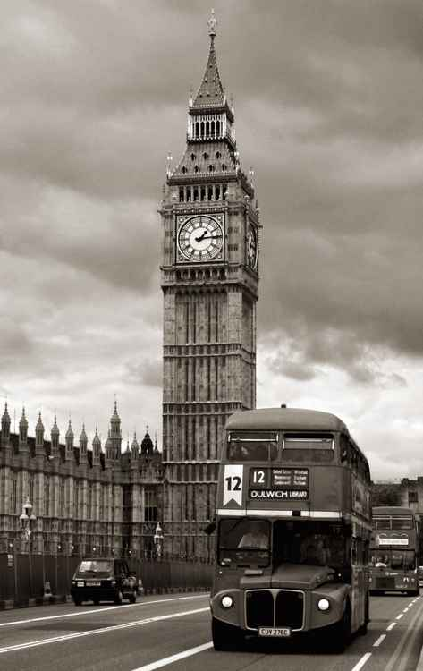 Old London Bus in front of Big Ben -
