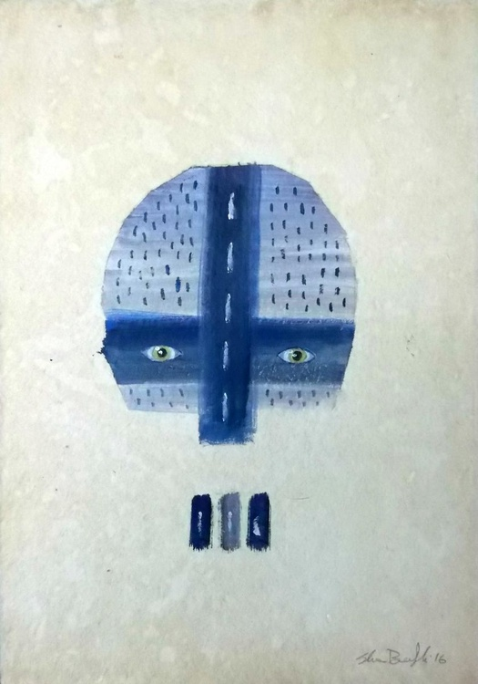 blue and grey mask - native american inspired - Image 0