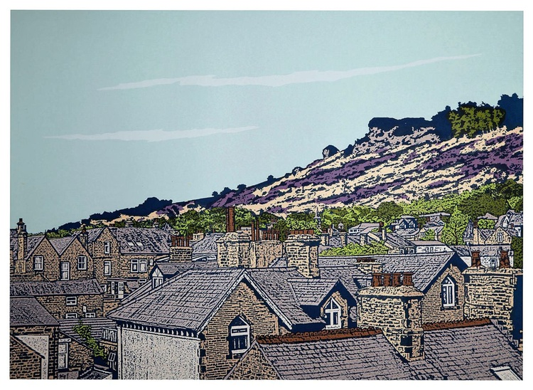Ilkley rooftops to Cow and Calf   - ( Lavender) - Image 0