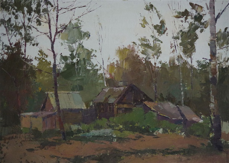 Landscape oil painting, Village View, One of a kind, Signed, Handmade art. - Image 0