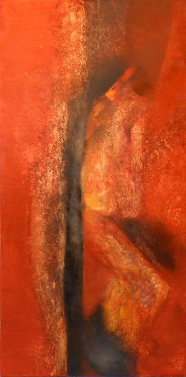 Blaze And Embers, oil on canvas 60x120 cm - Image 0