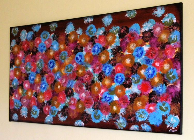 """Vintage Springs #5 - large original abstract painting, 46""""x 24"""" vintage home decor - Image 0"""