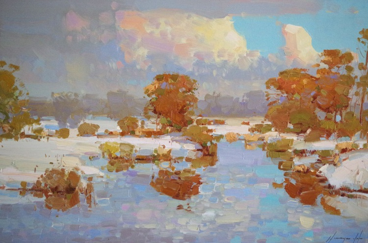Landscape Oil painting, Winter, Spring, One of a kind, Signed with Certificate of Authenticity - Image 0
