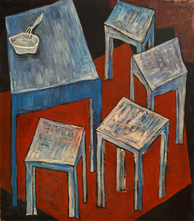 Feast. Four stools. 1990. Oil, canvas. 76x66 cm -