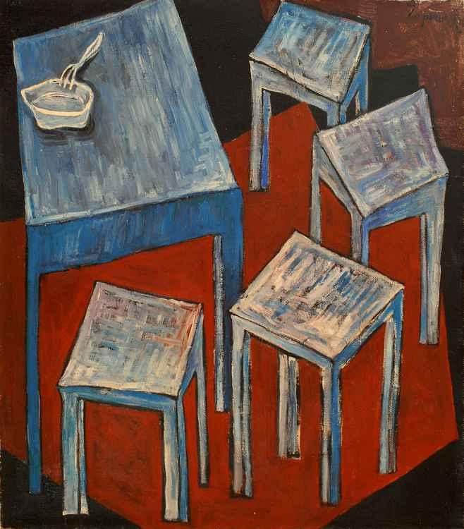 Feast. Four stools. 1990. Oil, canvas. 76x66 cm