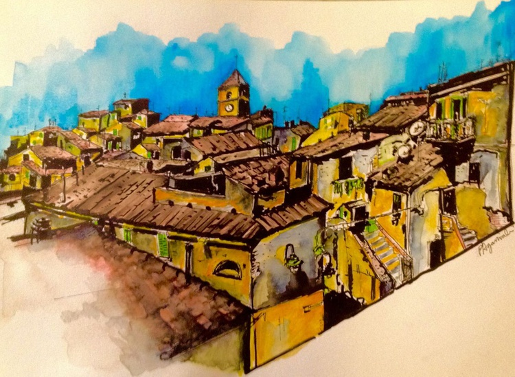 Italian Holiday: Panoramic Tuscan Roofscape - Image 0
