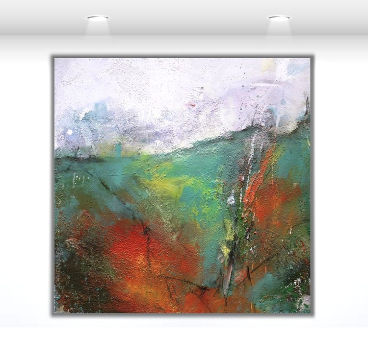 A Landscape | turquoise white amber | abstract | square | Work No. 2012.32 - special price - Image 0