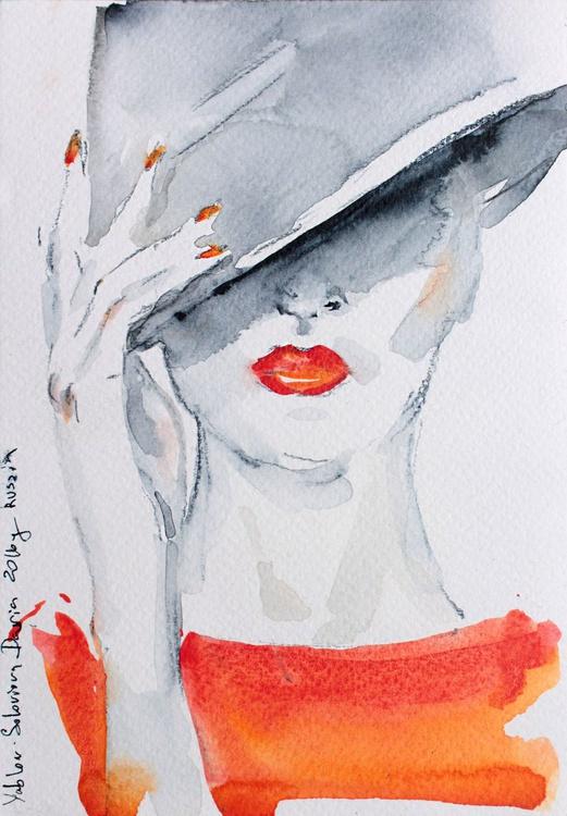 White hat  5x7 in 13x18cm - Image 0