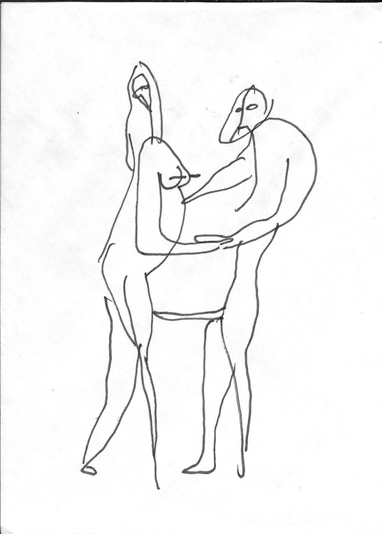 Surrealist Lovers, drawing on an envelope #8,  17x12 cm - Image 0