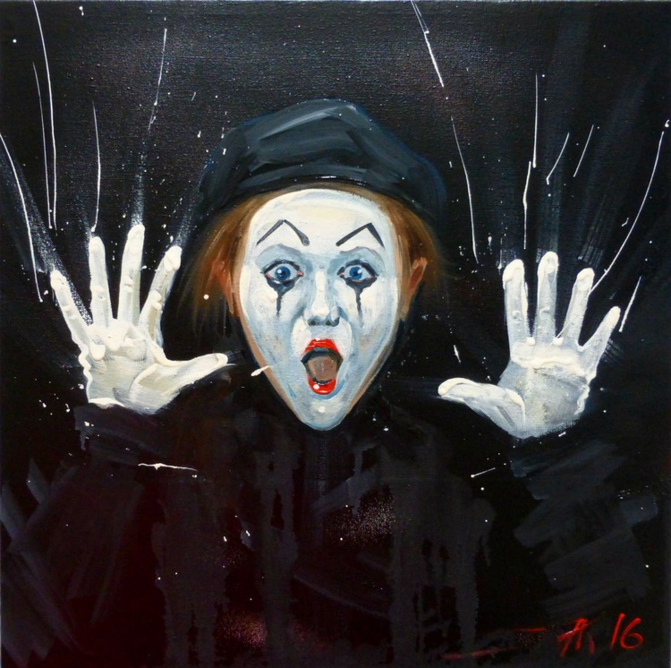 Girl mime, oil painting 30x30 cm - Image 0