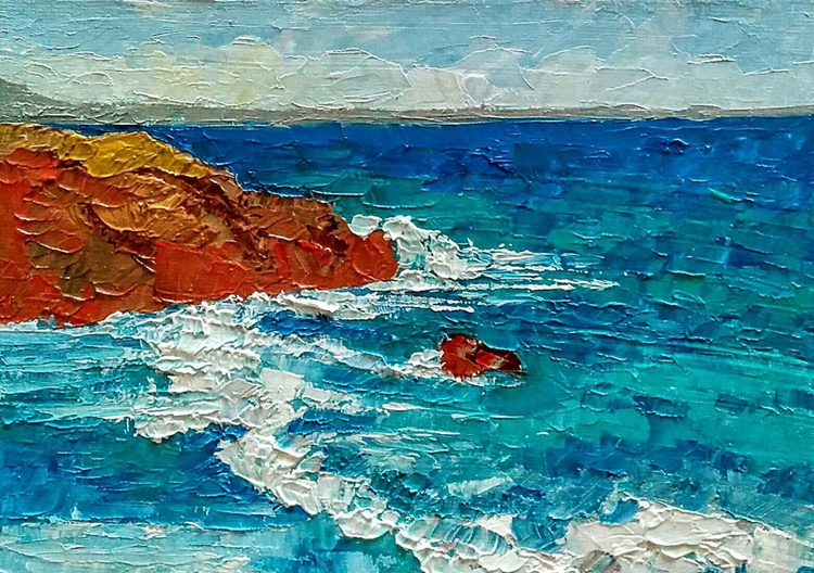 Framed Small Paintings, Lone Wave, Seascape - Image 0