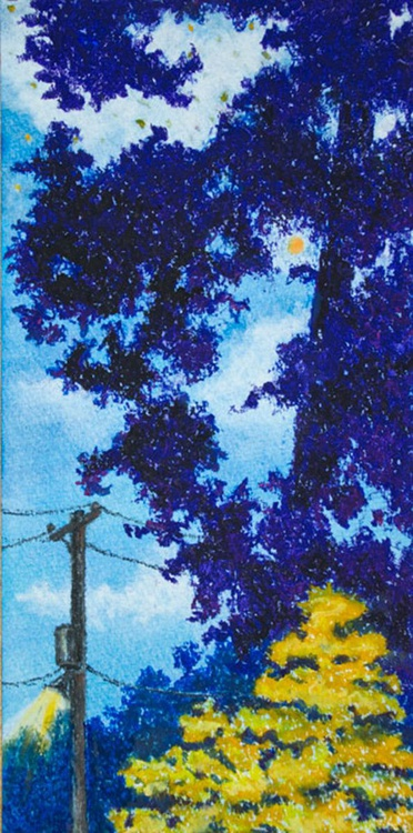Power Lines at Night (Study in yellow and purple), Original Pastel Landscape - Image 0