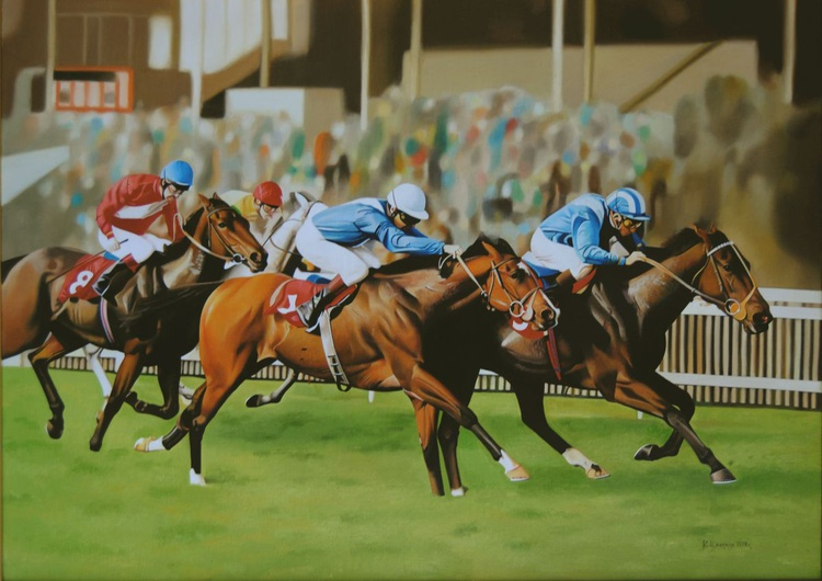 Horse race, Original hyperrealistic painting - Image 0
