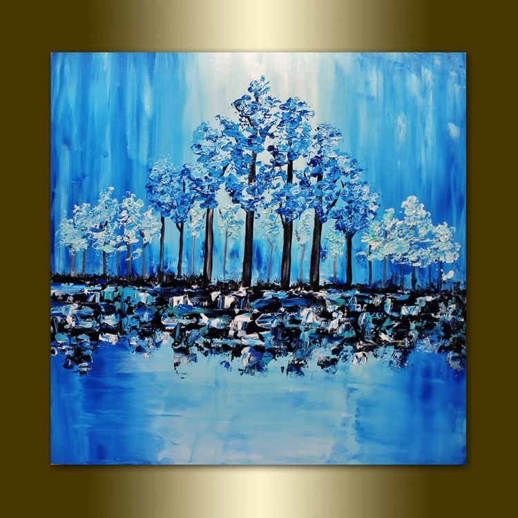 Colorful Blooming Blue Trees. - Image 0