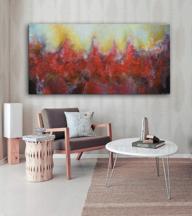 """I saw men walking on Mars , 30"""" x 60"""" x 1.5""""  (76 cm x 152 cm x 3.8 cm) - large red abstract landscape mixed media on canvas - Image 0"""