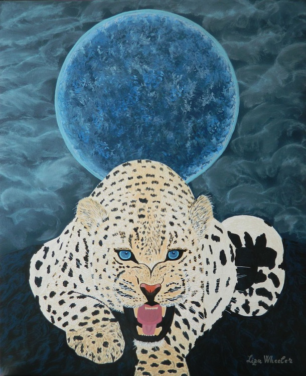 The Protector - Original, unique, contemporary figurative big cat full moon painting - Image 0
