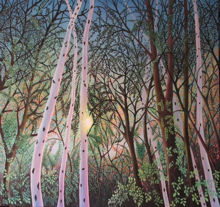 North East Forest Scene with Birch Trees 2016. - Image 0