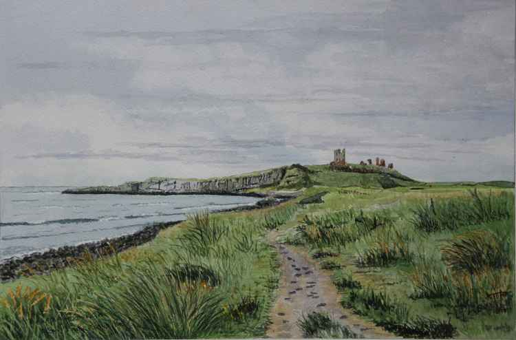 Dunstanbough Castle from Emblton Bay Northumberland -