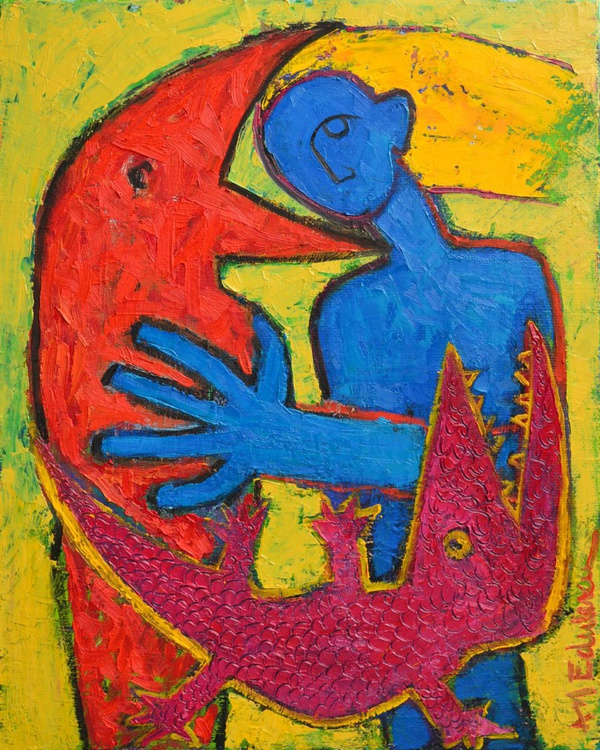 MY ALTER EGO EATERS 40 x 50 cm or self portrait with the red raven and magenta crocodile who wanted to eat me - abstract expressionist painting - Image 0