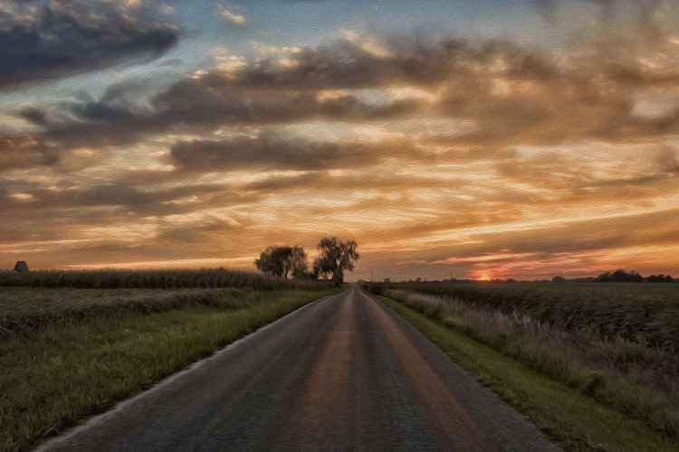 On a Prairie Road at Sunset -
