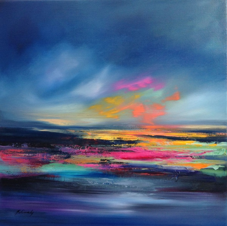 Rainbow Shore - 61 x 61 cm, abstract landscape oil painting in blue, rend, pink, magenta - Image 0