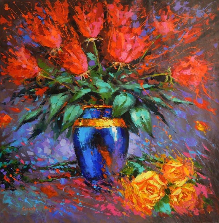 """""""Roses"""", DMITRY SPIROS PAINTING, OIL PAINTING, huge size, HOME DECOR, WALL ART,  HOME DECOR, (56""""x56""""), 140cm X 140cm - Image 0"""