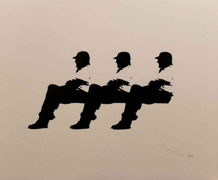 Three Men in a bench 02 -