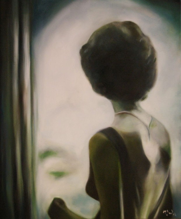 Waiting for News - Photo Realistic Portrait Original One of a Kind Oil Painting - Image 0