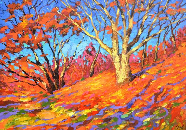 Autumn oak - Original Oil acr. palette knife Painting,  Size: 100cm x 70cm - Image 0