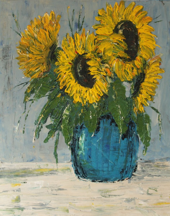 Sunflowers in blue pot. - Image 0