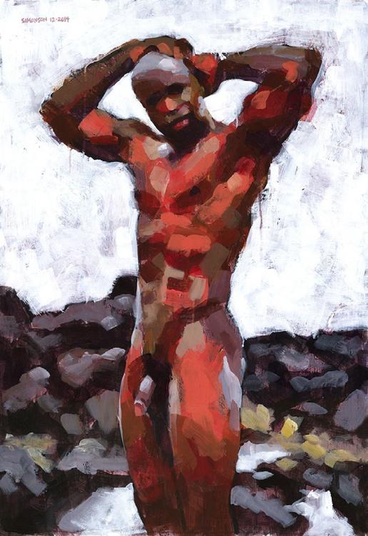 Black Male Nude in Lava Rocks - Image 0