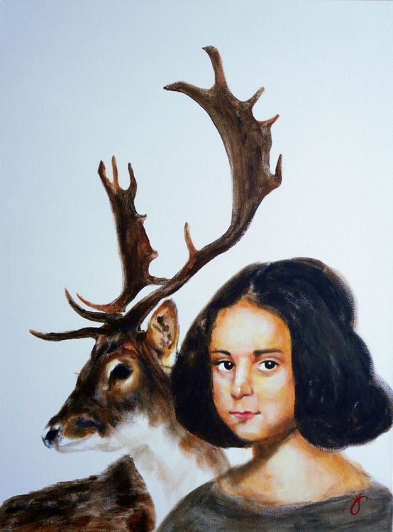 A Girl with a Deer (after Diego Velázquez) - Image 0