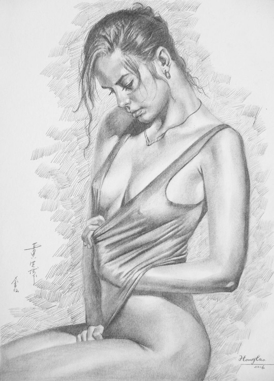 original art drawing pencil sexy nude girl on paper #16-5-19 - Image 0
