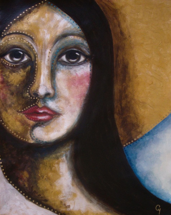 """LADY with HALO PAINTING 16"""" X 20"""" - Image 0"""